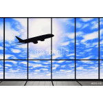 Airport windows with flying airplane 64238
