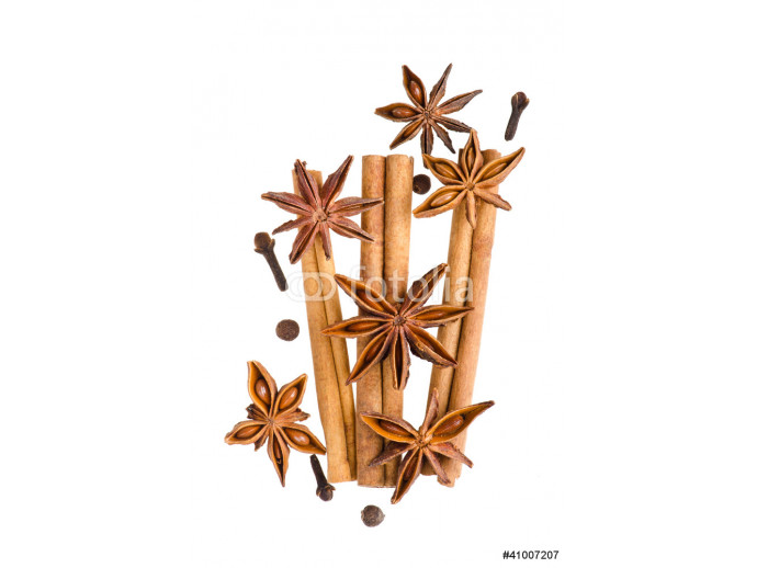 Cinnamon and anise isolated on white background 64238