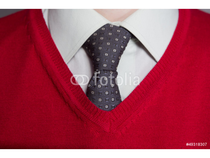 Man wearing white shirt, red sweater and necktie 64238