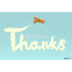 Biplane with word Thanks. Vector illustration. 64238