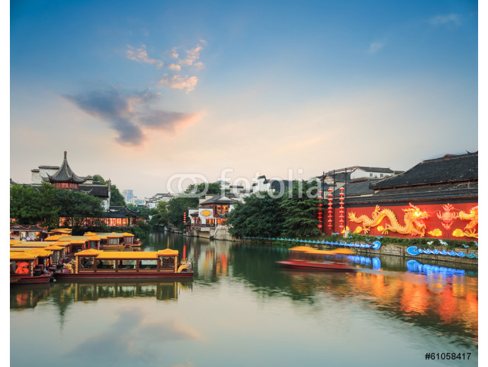 nanjing scenery of qinhuai river in nightfall 64238