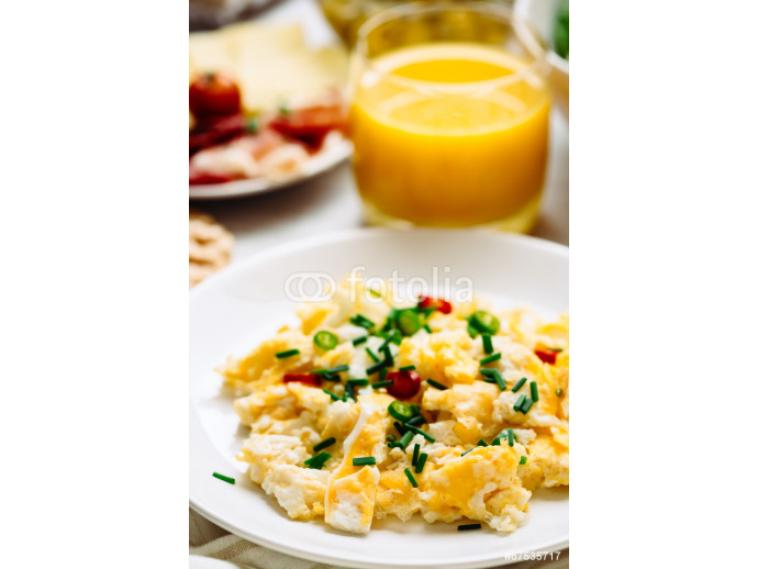 Fresh breakfast food. Eggs and orange juice. 64238