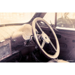 interior view of old dirty vintage car 64238