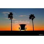 Silhouette of a California life guard station at sunset with Palm Trees 64238