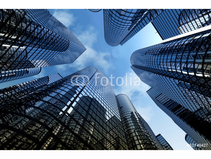 Reflective skyscrapers, business office buildings. 64238
