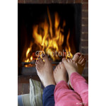 Mother And Child Warming Bare Feet By Fire 64238