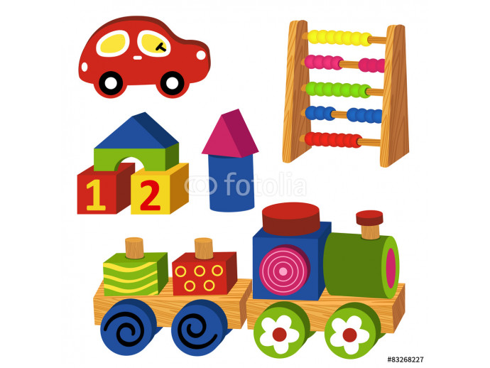 colorful wooden toys - vector illustration, eps 64238