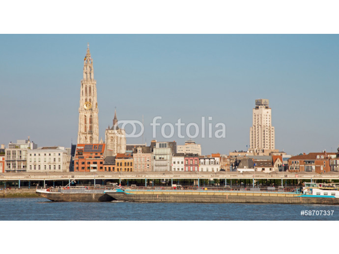 Antwerp - Canal and towers of cathedral of Our Lady 64238
