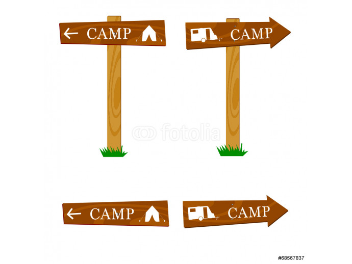Fotomurale wooden camping sign vector illustration 64238