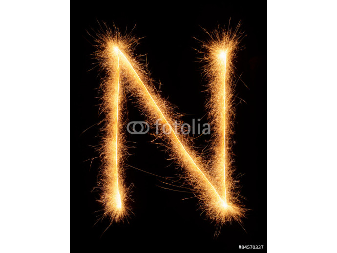 """N"" letter drawn with bengali sparkles 64238"