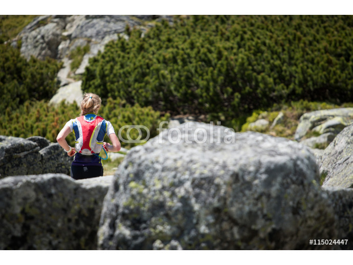Wallpaper beautiful young woman in sportswear with blond hair running extreme trail in high mountains  64238