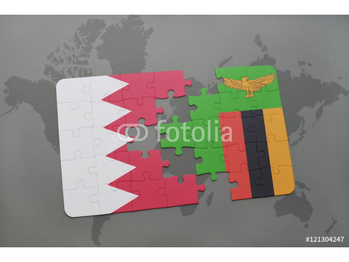 puzzle with the national flag of bahrain and zambia on a world map background. 64238