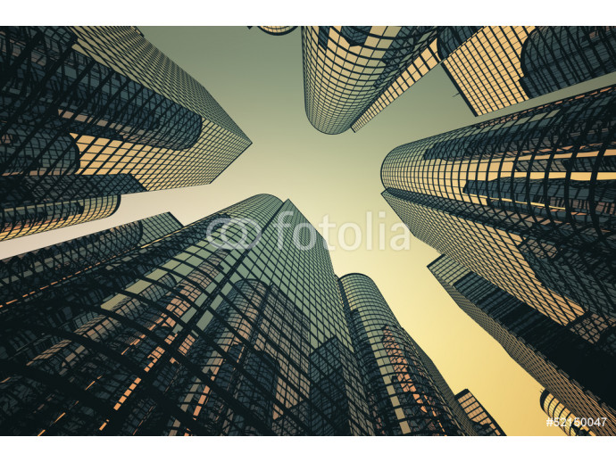 Photo wallpaper Reflective skyscrapers, business office buildings. 64238