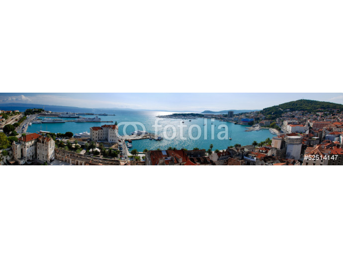 Panoramic view of Split por city and Marijan Hill from belfry in 64238