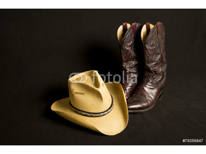 Cowboy boots and cowboy hat on black background 64238