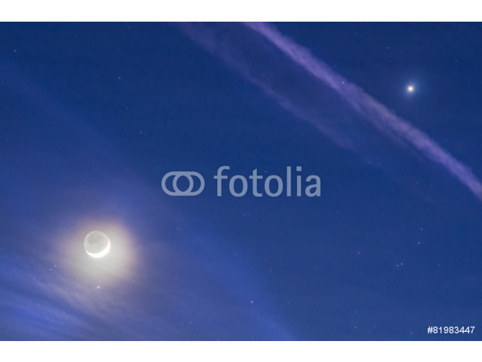 Fototapeta Crescent moon with earth shine, clouds and planet Venus 64238