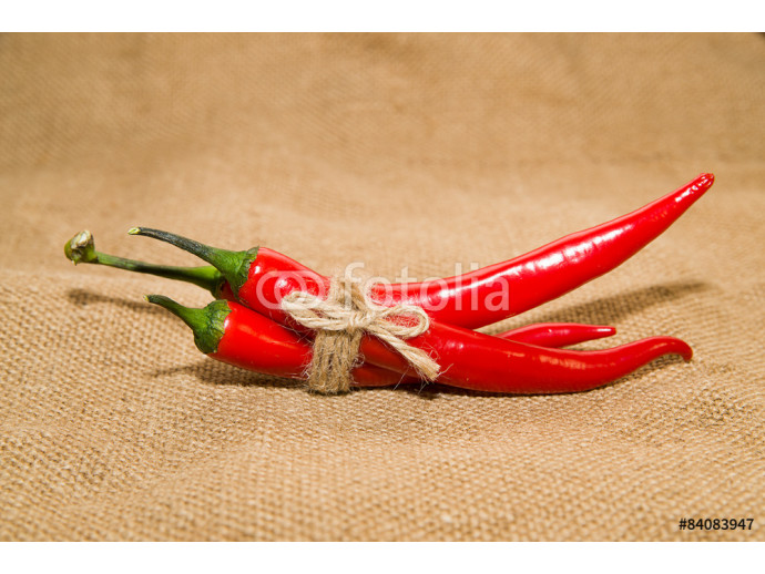 Chile peppers tied with a rope  on old cloth 64238