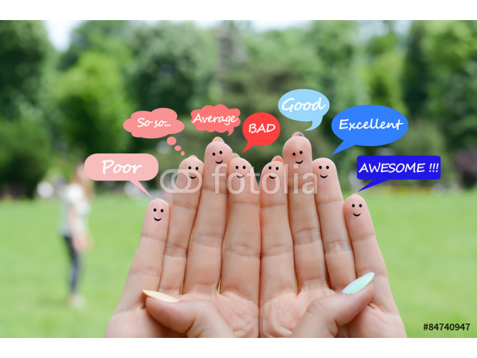 Customer satisfaction and testimonials concept with happy human fingers 64238
