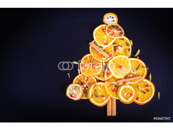 Christmas tree made of dried oranges, lemon, spices 64238