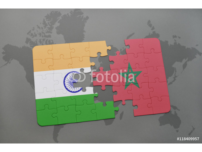 puzzle with the national flag of india and morocco on a world map background. 64238