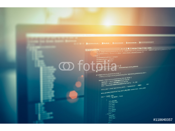 Fototapeta web site codes on computer monitor 64238