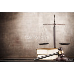 Law. Golden scales of justice, gavel and books isolated on white 64238