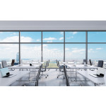 Workplaces in a modern panoramic office, New York city view from the windows. Open space. White tables and black leather chairs. A concept of financial consulting services. 3D rendering. 64238