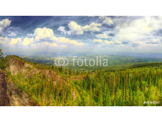 The HDR panorama of the mountains 64238
