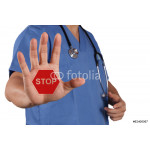 medical doctor hand surgeon shows stop sign with his hand 64238