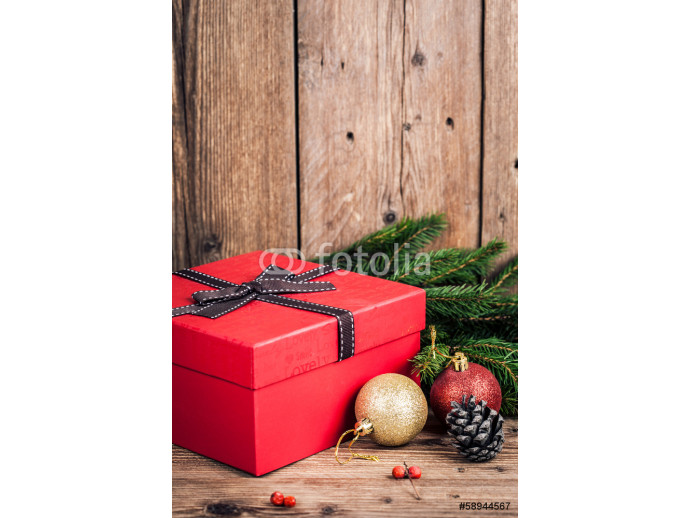 gift box with christmas elements on wooden background 64238
