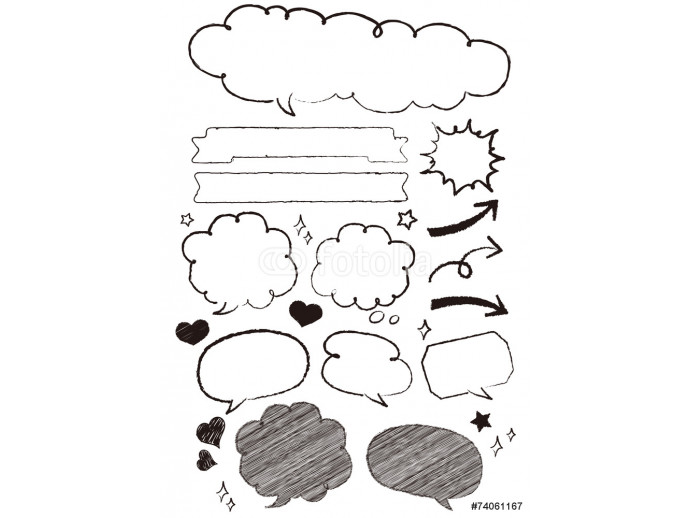 Hand-drawn speech bubbles set Vector 64238