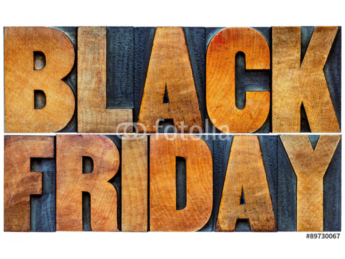 Black Friday banner in wood type 64238