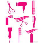 set of pnk hairdresser tools silhouette 64238