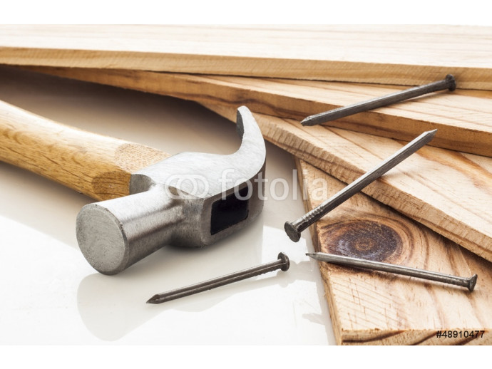 Wood planks with hammer and nails on white background 64238