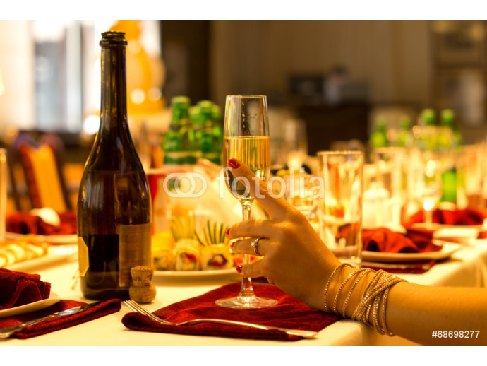 Elegant woman holding a flute of champagne 64238