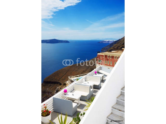 The sea view terrace at luxury hotel, Santorini island, Greece 64238