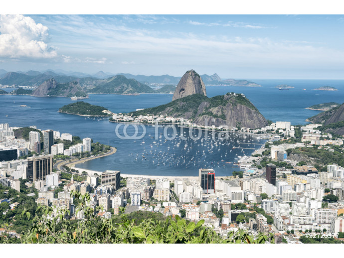 City skyline scenic overlook of Rio de Janeiro, Brazil with Sugarloaf Mountain, Botafogo and Guanabara Bay 64238