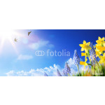 art Easter background with fresh spring flowers 64238