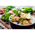 prawn noodles -  spicy asian meal with mushrooms, chili, mint and lime - bún gạo với tôm 64238