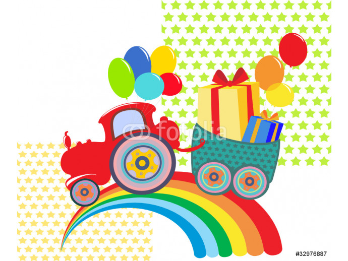 Cartoon rainbow tractor with color balloons and gifts. 64238