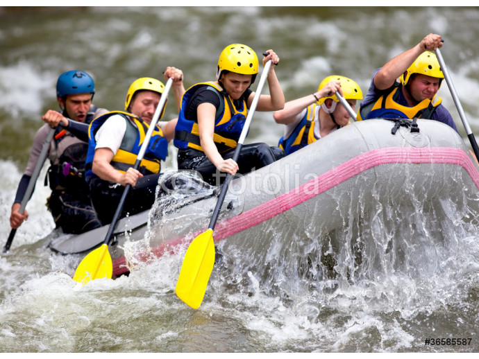 Wallpaper Group of people whitewater rafting 64238