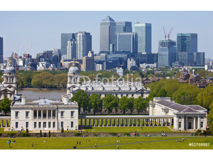 View of Docklands and Royal Naval College in London. 64238