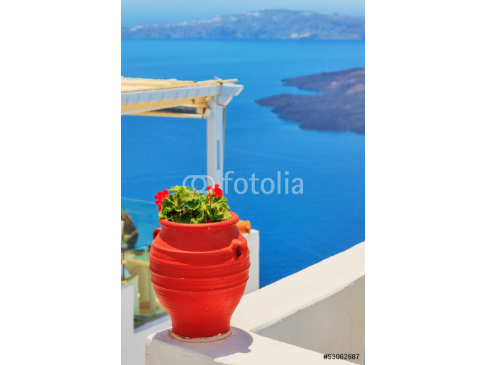 Fotomural decorativo Greece Santorini island in Cyclades, traditional detail sights o 64238