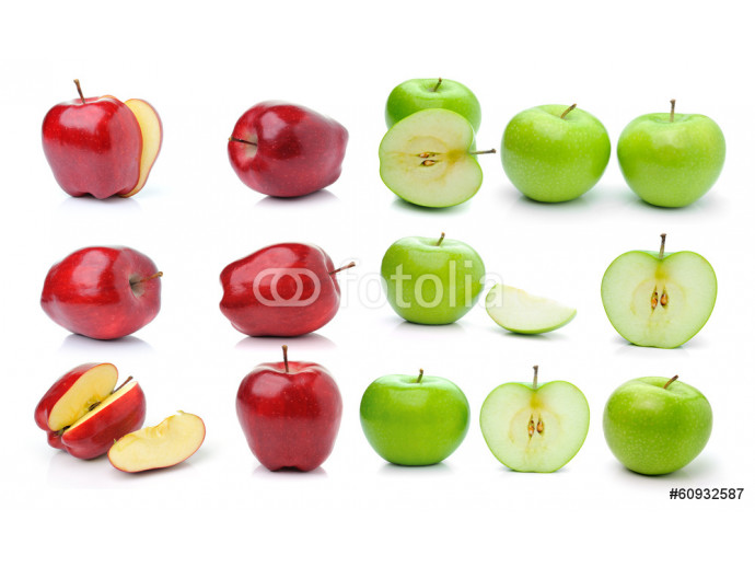 Red ripe and green apple isolated on white background 64238