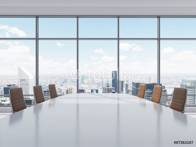 Photo wallpaper Panoramic conference room in modern office in New York City. Brown leather chairs and a table. 3D rendering. 64238