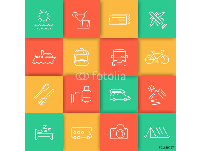 Travel, tourism, cruise, vacation line icons set 64238
