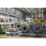 Rolls of aluminum lie in production shop of plant 64238