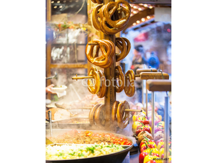 Pretzels and food at German Christmas Market 64238