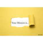 Torn brown paper with Your Mission is... text 64238