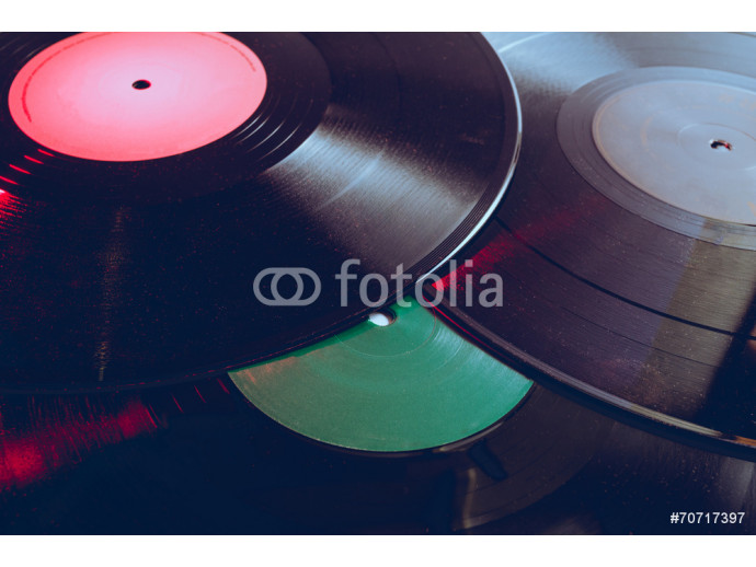 Group of vinyl with red light 64238